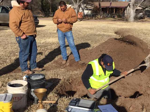 Soil testing 4 at Gopher Field. Pattison engineering of Tucson did testing, Town employees did digging.